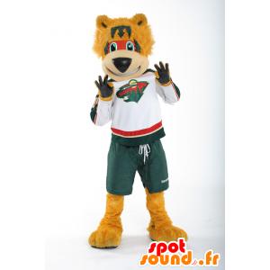 Orange bear mascot in sports outfit - MASFR22398 - Bear mascot