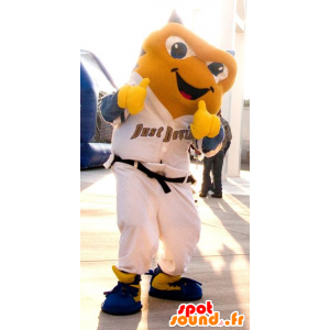 Żółty Ryba Mascot w białej sukni