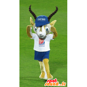 Yellow and white gazelle mascot in blue and white outfit