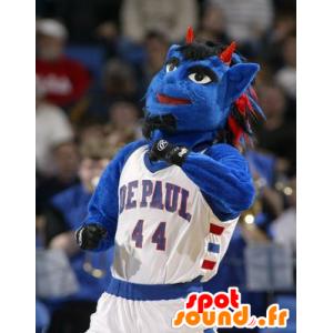 Mascot blauer Mann blaue Kreatur mit Hörnern - MASFR22405 - Menschliche Maskottchen