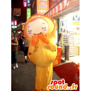 Mascotte de fillette, de poupée en tenue jaune - MASFR22406 - Mascottes Enfant