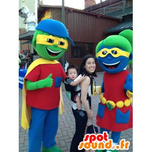 2 mascotes, menino e menina colorida - MASFR22410 - mascotes criança