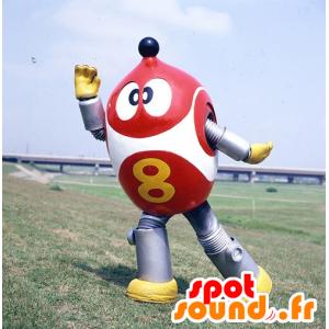 Robot maskot, rød, hvit og metallisk grå