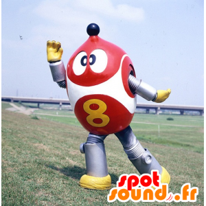 Robot maskotti, punainen, valkoinen ja metallinen harmaa
