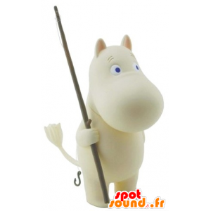 Mascot wit nijlpaard met blauwe ogen