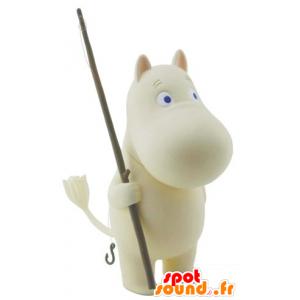 Mascotte weiß Nilpferd mit blauen Augen - MASFR22416 - Maskottchen Nilpferd