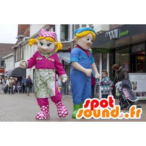 2 mascottes, een blonde meisje en een blonde jongen
