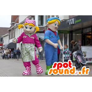 2 Maskottchen, ein blondes Mädchen und ein blonder Junge - MASFR22430 - Maskottchen-Kind