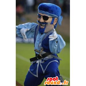 Mustache piratmaskot, i blåt tøj - Spotsound maskot kostume