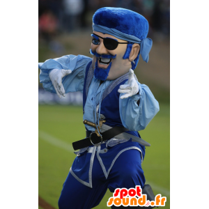 Pirate mascotte snor in blauwe outfit