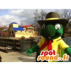 Groene schildpad mascotte en gele reus