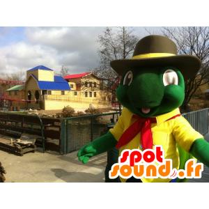 Mascote tartaruga verde e amarela gigante
