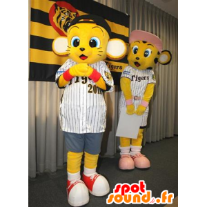 2 mascots gele tijgerwelpen in sportkleding - MASFR22442 - baby Mascottes