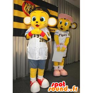 2 mascottes de bébés tigres jaunes en tenue de sport