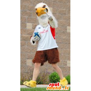 Mascot bruine en witte adelaar reus in sportkleding - MASFR22446 - Mascot vogels