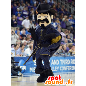 Musketeer mustachioed mascot dressed in black