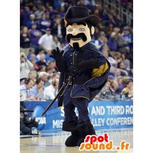 Musketier besnorde mascotte gekleed in het zwart - MASFR22447 - mascottes Soldiers