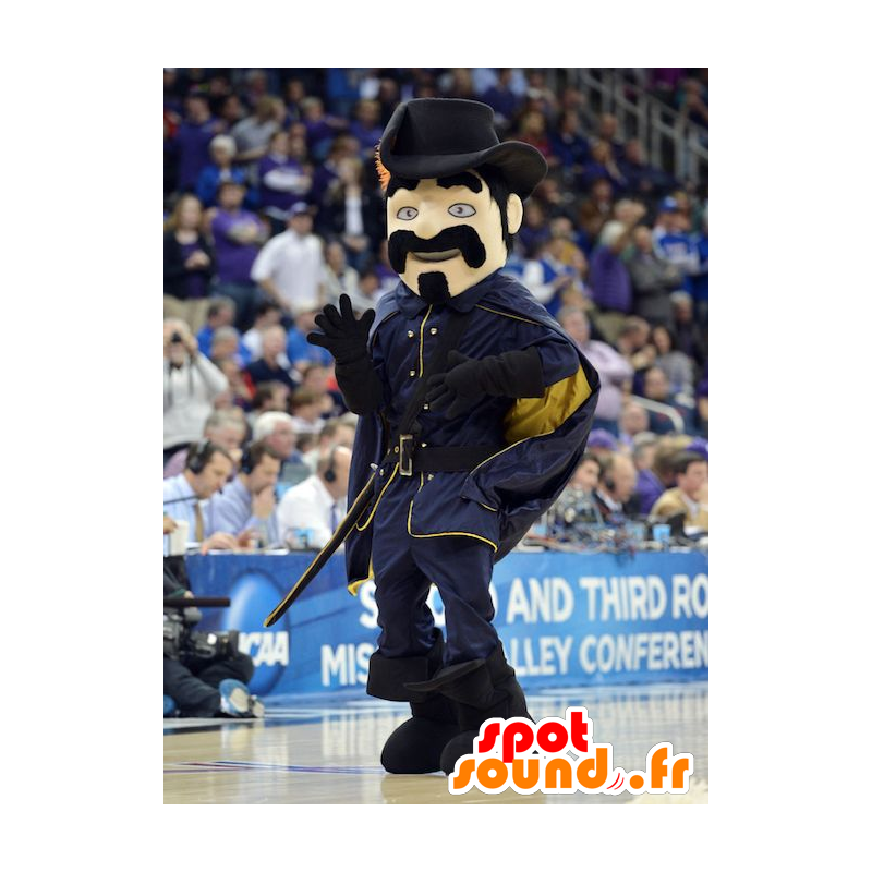 Musketeer mustachioed mascot dressed in black - MASFR22447 - Mascots of soldiers