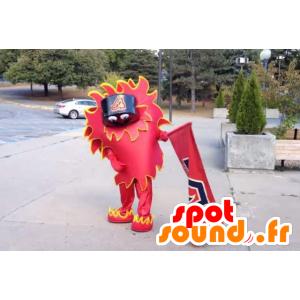 Mascotte de dragon chinois, rouge et jaune, géant - MASFR22450 - Mascotte de dragon