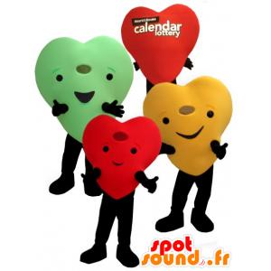 3 mascotes corações coloridos gigantes e sorrindo - MASFR22455 - mascote dos namorados