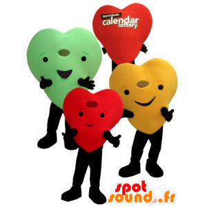 3 mascots colored hearts giants and smiling - MASFR22455 - Valentine mascot