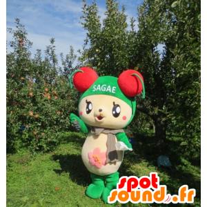 Beige ja vihreä nalle maskotti kirsikoita päälle - MASFR22458 - Bear Mascot