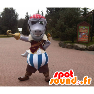 Gray shark mascot dressed in pirate costume - MASFR22460 - Mascottes de Pirate