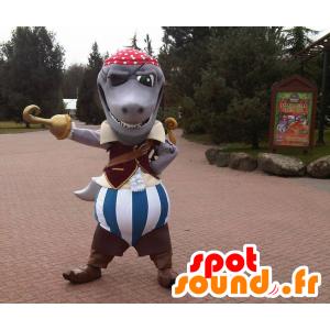Grigio squalo mascotte vestita in costume da pirata