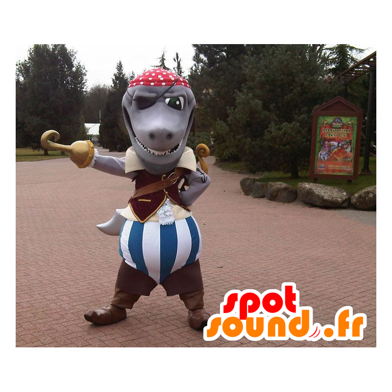 Grijze haai mascotte gekleed in piraatkostuum - MASFR22460 - mascottes Pirates