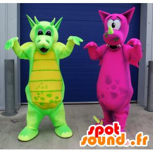 2 Maskottchen drachen, grün und pink - MASFR22467 - Dragon-Maskottchen