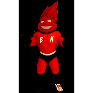 Mascote super-herói no terno vermelho e preto