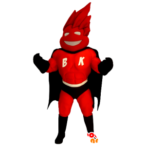 Mascotte de super-héros en costume rouge et noir