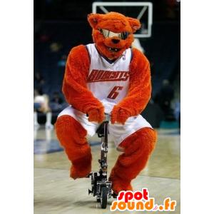 Oranje Bear Mascot met glazen basketbal - MASFR22473 - Bear Mascot