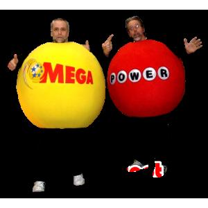 2 Maskottchen riesigen Bällen, rot und gelb - MASFR22483 - Maskottchen von Objekten