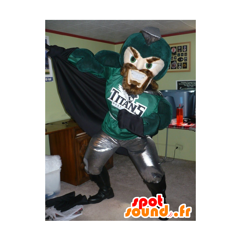 Knight Mascot, superhero, green and gray - MASFR22484 - Mascots of Knights