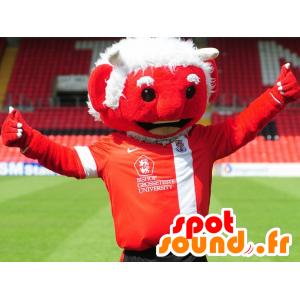 Mascot rød djevel med hvitt hår