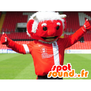 Mascot red devil with white hair