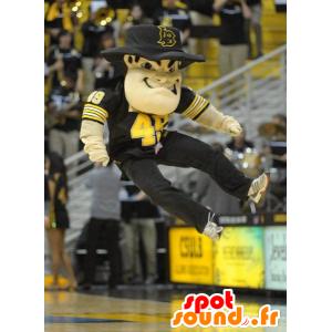Man Mascot, bandiet met een hoed en een zwart pak - MASFR22490 - man Mascottes