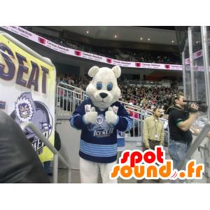 Polar Bear Mascot with a blue jersey - MASFR22491 - Bear mascot