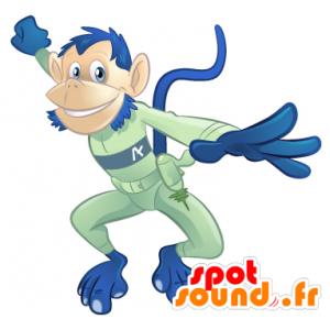 Blue monkey mascot, green futuristic combination - MASFR22498 - Mascots monkey