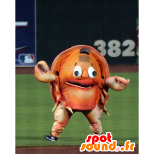 Crab mascot, orange crustacean giant