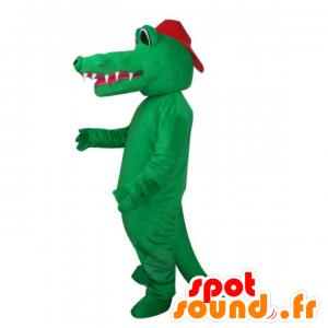 Green crocodile mascot, naked, with a cap - MASFR22514 - Mascot of crocodiles