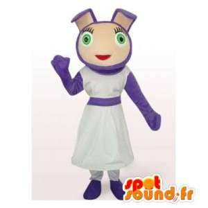 Purple rabbit mascot. Purple girl costume