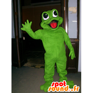 Mascot green frog, lovely and cheerful - MASFR22521 - Mascots frog