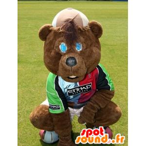 Maskot medvěd hnědý, ve sportovní oblečení - MASFR22522 - Bear Mascot