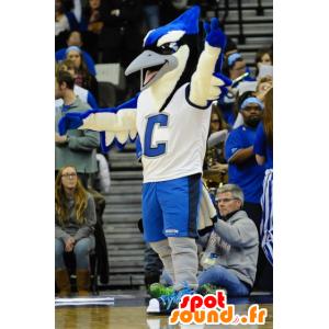 Stor fuglemaskot, blå, hvid og sort, blå jay - Spotsound maskot