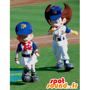 2 boy mascots and sports girl, very cute