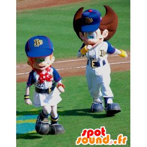 2 mascottes de garçon et de fille sportifs, très mignons