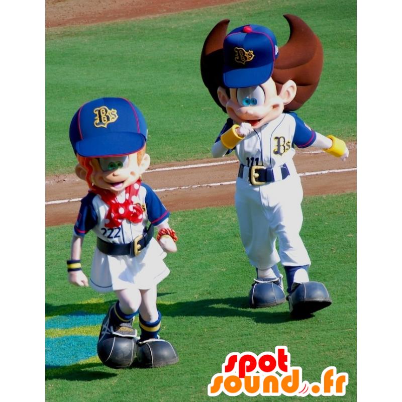 2 boy mascots and sports girl, very cute - MASFR22528 - Mascots child
