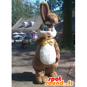 Tukku Mascot ruskea ja valkoinen kani keula solmu - MASFR22532 - maskotti kanit